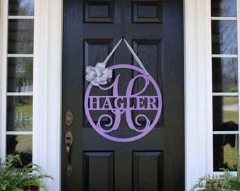 HAGLER: Front Door Hanger, Front Door Wreath, Front Door Decor, Metal Sign, Monogram Door Sign, Metal Letter, Family Name, Last Name Sign