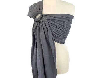 Woven Cotton Gauze Ring Sling Newborn, Infant, Baby Carrier - Grey Ring Sling - Pleated Shoulder