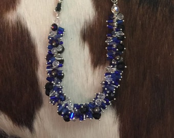 Black, Cobalt, and Clear Crystal Necklace