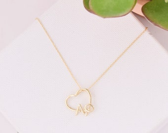 Alpha Phi Heart Necklace / Alpha Phi Sorority Necklace / APhi Heart / Alpha Phi Jewelry / Big Little Gift / Sorority Jewelry / Sorority Gift