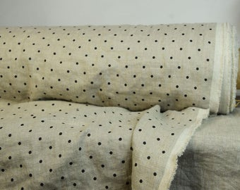 Pure 100% linen fabric 190gsm. Polka dot, black dots on natural not dyed flax background. Middle weight, washed-softened, dense.
