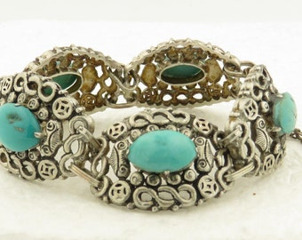 """Vintage Sterling Silver Natural Blue Turquoise 6.5"""" Hinged Bracelet w/ Safety Chain."""