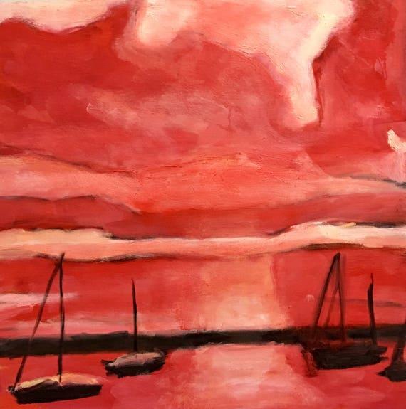 "Original Oil Painting: Sailors Delight, 20""x20"""