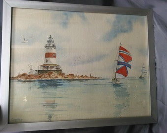 Vintage Old Original Lighthouse Nautical Ship Sailboats Watercolor Painting