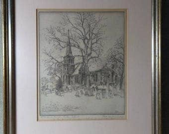 Old Antique Etching Engraving Staten Island NY New York St Andrews Church Signed