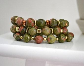 Unakite Beaded Bracelet Set, Semi-Precious Stone Stretch Bracelet, Stacking Bracelet Set, Gift for Her, Elastic Bracelet, Boho Bracelet Set