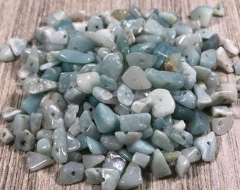 Amazonite Gemstone Chips, Pre Drilled Amazonite Chips, Gemstone Chip Beads, Blue Green Stone Chips