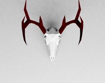Deer Skull - 3D papercraft model. Downloadable DIY template, Printable Pepercraft, Instant Pdf download