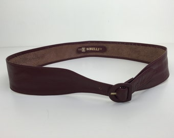 cordovan burgundy leather waist cinching belt 70s