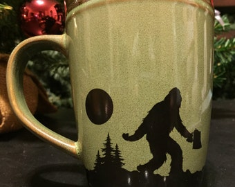 Funny yeti coffee mug, Is it time for coffee yeti ? 12 oz green and brown forest woodland mug