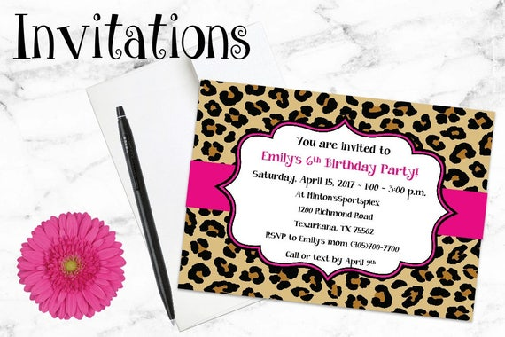 Birthday Invitations - Leopard Print Invitations - Cheetah Print - Animal Print - Party Invitations - Shower Invitations, Custom Invitations