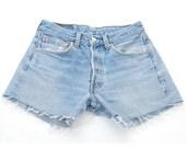 Vintage Levi's 501 Light Blue Denim Shorts W26 8 - www.brickvintage.com