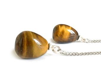 Tiger Eye Necklace -Tumble Gemstone Necklace, Healing Stone Necklace, Tiger Eye Jewellery, Tigereye Necklace Men Necklace