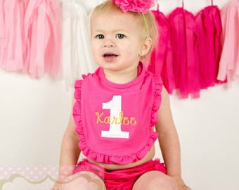 Hot Pink First Birthday Cake Smash Outfit Ruffle Bib Party Gold ONE Glitter Outfit