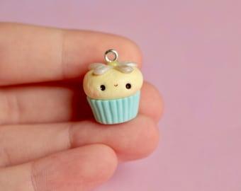 Mint Daisy Cupcake Charm Polymer Clay