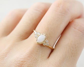 14k gold natural opal ring, Oval white opal,  October Birthstone, Solid Gold, Unique Statement Ring, Solitaire Ring, ado-r103-opa