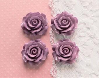 4 Pcs Large Purple Intricate Flower Cabochons - 30x30mm