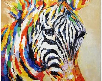 Hand Painted Impressionist Zebra Painting On Canvas - Multi-Colored Animal Art