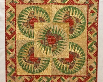 New York Beauty // Imperial Asian Quilt // Patchwork Quilt // Art Quilt // Quilted Wall Hanging // Textile Art // Red and Green Quilt //