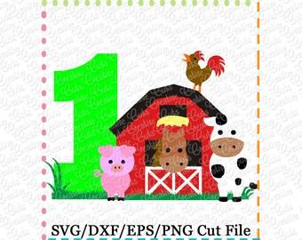 Barn with Animals Birthday 1 svg cutting file, farm animals svg, horse svg, cow svg, pig svg, barn svg, farm svg, 1st birthday