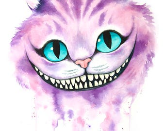 Cheshire Cat Watercolor, Cheshire Cat, Alice in Wonderland, Through the Looking Glass, Fan Art, Standard Art Print, 8x10""