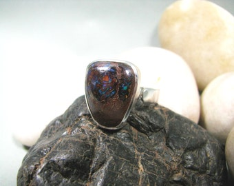 Boulder Opal Ring in Sterling Silver - Bezel Setting, Adjustable Band, Australian Opal Jewelry, Opal Ring for Woman, Handmade, Raw Opal Ring