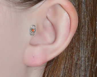 2mm Garnet Tragus Stud - Silver Nose Stud - Cartilage Hoop - Helix Earring Stud - Nose Ring - Tragus Jewelry - Nose Piercing 20g