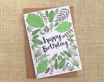 Botanicals Birthday card - hand drawn design