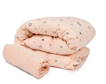 Baby girl stars 2pc bedding set, Baby crib bedding set, Nursery bedding set girl, Pink nursery / Peach nursery bedding, Sheet & Duvet cover