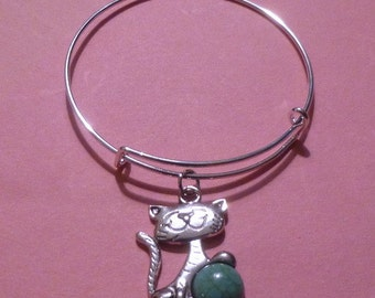 Cat Holding a Turquoise Ball Expandable Wire Bracelet ~ Adult or Child