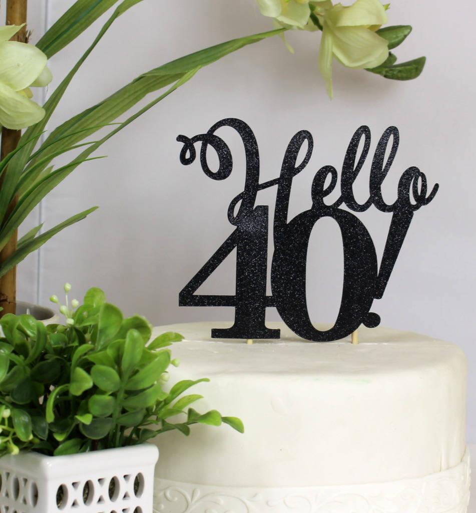 Black Hello 40 Cake Topper 1pc Birthday/Anniversary Black