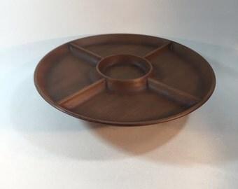 Vintage Mid Century Faux Wood Lazy Susan Serving Dish