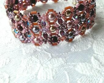Rose pink mauve beaded cuff bracelet, Honeycomb cuff, Pink pearl cuff, Purple crystal cuff, Bugle beadwork cuff bracelet, Statement bracelet