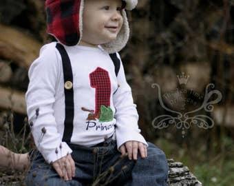 Lumberjack 1st Birthday Shirt Cake Smash. Woodland Birthday Shirt. Winter/Pine Tree Birthday. Red/Black Buffalo Paid. Suspenders Elbow Patch