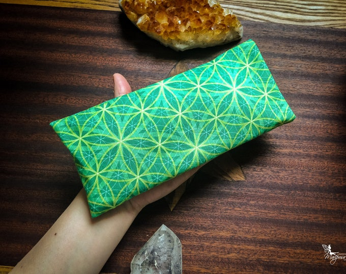 Yoga eye pillow Green Seed of Life sacred geometry shavasana relaxation aromatherapy handmade meditation gear by Creations Mariposa