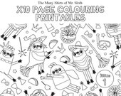The Many Shirts of Mr. Sloth x10 Page Colouring Printables / A4 to A3 size / Children Colouring Sheets / Download PDF