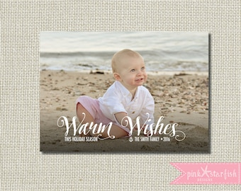 Christmas Card, Holiday Card, Nautical Christmas Card, Warm Wishes, Xmas Card, Photo Christmas Card, Holiday Christmas Card, Xmas, Simple