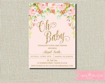Pink and Gold Baby Shower Invitation, Watercolor Floral Baby Shower Invitation, Baby Shower, Pink, Gold Glitter, Watercolor Flower, Digital