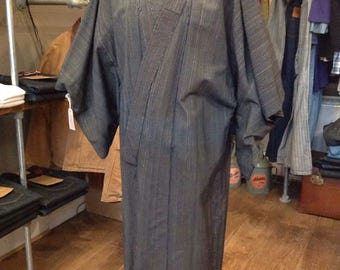 Vintage Japanese mens long kimono indigo kasuri robe dressing gown traditional boro