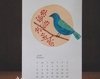 Sale! 2017 Watercolor Desk Calendar with Teak Wood Stand, music, inspirations, art