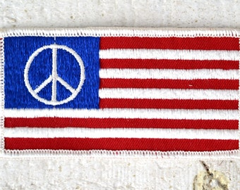 NOS 1960s Anti War Patch Protest Patch Peace Sign Patch American Flag Patch Sew on Patch Legit Embroidered Hippie Patch Large Peace Movement