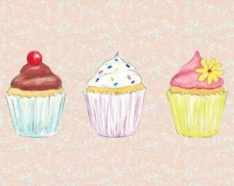 Cupcakes birthday card (blank inside)