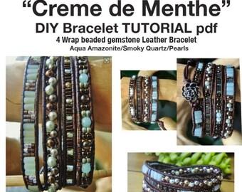 TUTORIAL DIY 'Creme de Menthe' 4 Wrap Bracelet Intermediate/Ambitious Beginner Beading Project,pdf instant download BraceletsofBlueRidge