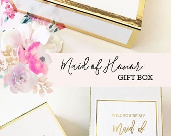 Maid of Honor Gift Sister Maid of Honor Box Matron of Honor Proposal Box Will You Be My Matron of Honor Box  (EB3171BPW)