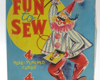 1960 Whitman Fun to Sew Set, Lithograph Hole Punched Cards and Yarn Laces