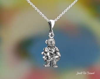 Sterling Silver Girl Bear with Teddy Bear Necklace or Pendant Only 925