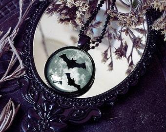 Bat Pendant, Black Necklace, Vampire Pendant, Black and White, Wicked