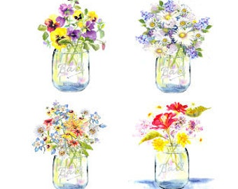 Ball Jar Bouquets - Note Card Assortment - Six Blank Notes  - Watercolors