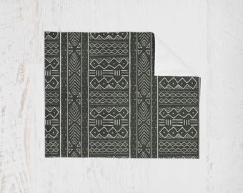 Organic Swaddle Blanket Black Mudcloth. Lightweight Baby Blanket. Receiving Blanket. Baby Swaddle. Aztec Swaddle. Nursing Cover