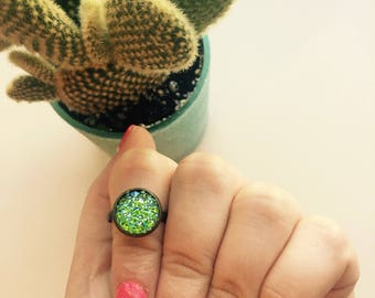 Mermaid Green Ring, Druzy Ring, Gifts Under 10, Stocking Stuffers, Adjustable Ring, Bronze Ring, Gifts Under 5, Gifts For Her,